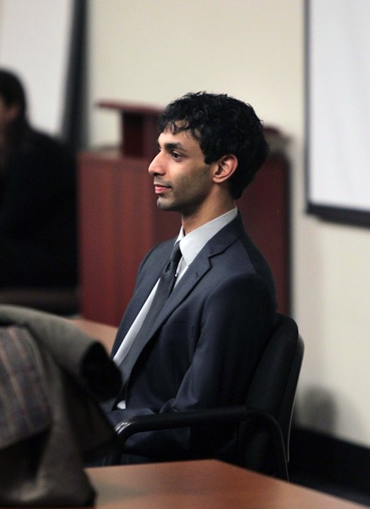 Dharun Ravi enters the courtroom during jury deliberations at the Middlesex County Courthouse, Thursday, March 15, 2012 in New Brunswick, N.J..  Ravi, a former Rutgers University student, faces 15 cri