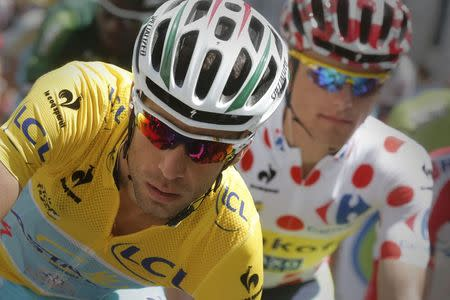 Race leader Astana team rider Nibali and best climber Tinkoff-Saxo rider Majka compete in the 17th stage of the Tour de France cycle race