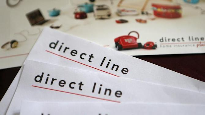A photo illustration shows insurance renewal notices from Direct Line in London
