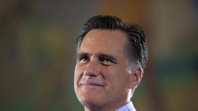 Republican presidential candidate, former Massachusetts Gov. Mitt Romney speaks during a campaign rally. Saturday, Sept. 1, 2012, in Cincinnati, Ohio.  (AP Photo/Evan Vucci)