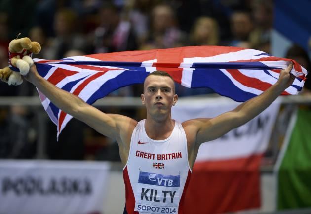 Britain's Kilty celebrates after winning gold in the men's 60m final at world indoor athletics championships in Sopot