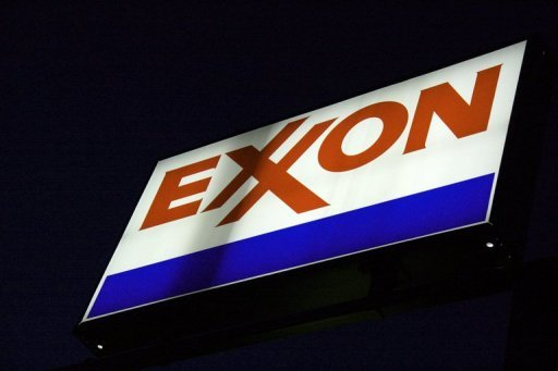 An Exxon sign is seen at a station in Manassas, Virginia on September 20, 2008. Emergency crews sent by US oil giant ExxonMobil worked Sunday to contain several thousand gallons of crude oil that spilled from a ruptured company pipeline in central Arkansas, the corporation said.