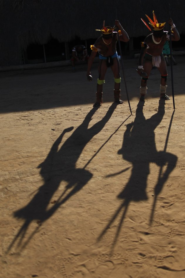 Yawalapiti men perform a dance …