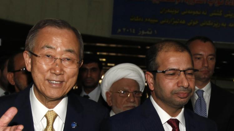 Salim al-Jabouri, speaker of Iraqi Council of Representatives attends reception with U.N. Secretary-General Ban Ki-moon at house of parliament in Baghdad