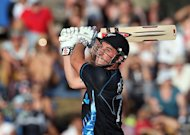 New Zealand&#39;s Hamish Rutherford hits a shot against England during the International Twenty20 cricket match at Snedden Park in Hamilton on Febuary 12, 2013. England won the toss and elected to bowl in the second one-day international against New Zealand at McLean Park on Wednesday