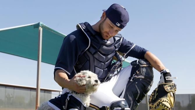 FILE - In this Feb. 20, 2014 file photo, Milwaukee Brewers catcher Jonathan Lucroy pets Hank at spring training baseball practice, Thursday, Feb. 20, 2014, in Phoenix. Hank, the bedraggled ball of fur who wandered into the Brewers' spring training complex back on President's Day looking for one more chance, will head to Milwaukee and his new home on Sunday, March 16, 2014.(AP Photo/Ross D. Franklin, File)