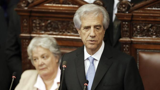 Uruguay's President Vazquez delivers his speech after being sworn into office at the Uruguayan Parliament in Montevideo