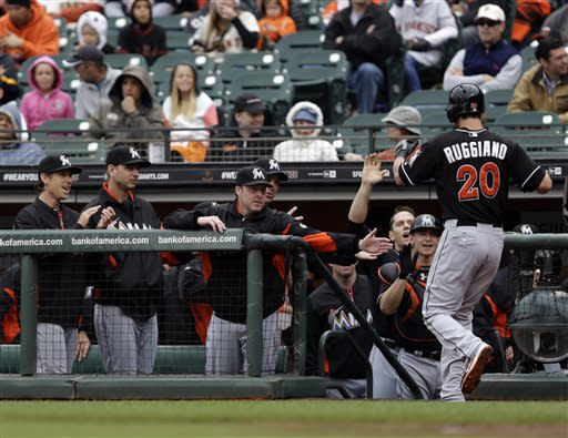 Ruggiano homers twice as Marlins beat Giants 7-2