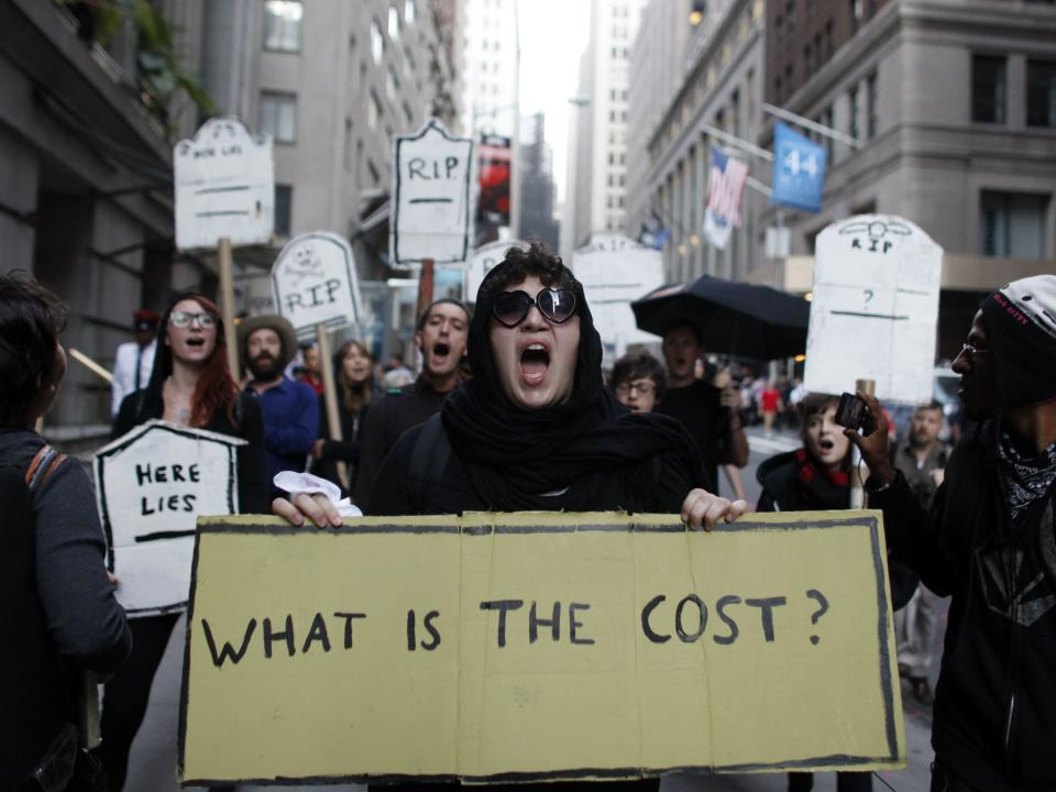 Protestors chant during an Occupy Wall Street march, Monday, Sept. 17, 2012, in New York.  A handful of Occupy Wall Street protestors were arrested during a march on the New York Stock Exchange on the anniversary of the grass-roots movement. (AP Photo/Jason DeCrow)