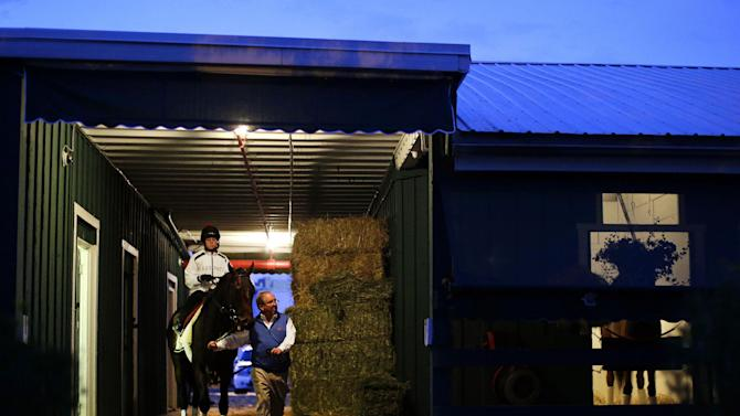Trainer Shug McGaughey leads Kentucky Derby winner Orb, with exercise rider Jennifer Patterson aboard, out of a barn at Pimlico Race Course in Baltimore, Saturday, May 18, 2013, for a workout on the morning of the 138th running of the Preakness Stakes horse race. (AP Photo/Patrick Semansky)