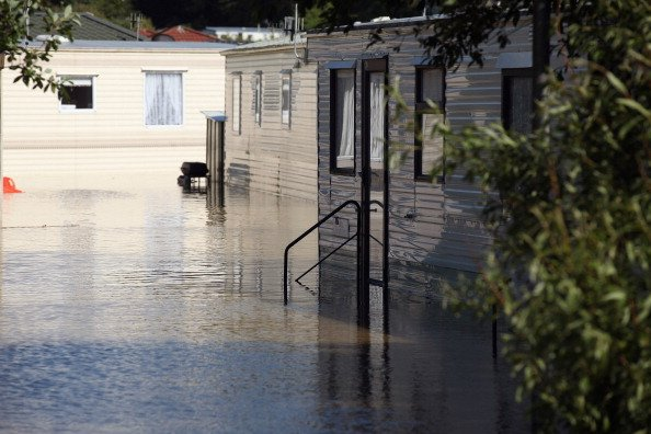 A caravan site is flooded in the seaside village of Borth on June 9, 2012 in Aberystwyth, Wales. Severe flooding has affected mid Wales with a major rescue operation under way taking to safety nearly