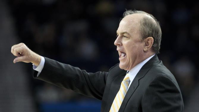 UCLA head coach Ben Howland gestures during the second half of an NCAA college basketball game against Cal Poly in Los Angeles, Sunday, Nov. 25, 2012. Cal Poly won 70-68. (AP Photo/Jason Redmond)