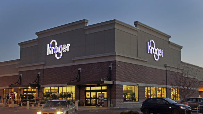 FILE - This June 12, 2012 file photo shows a Kroger store in Indianapolis. The Kroger Co. reports their fourth quarter 2012 earnings on Thursday, March 7, 2013. (AP Photo/Michael Conroy, File)