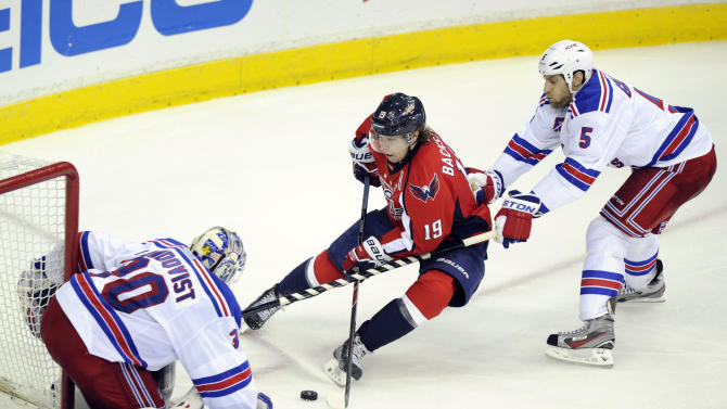 Washington Capitals center Nicklas Backstrom (19), from Sweden, tries to get the puck past New York Rangers goalie Henrik Lundqvist (30), from Sweden, and Dan Girardi (5) during the third period of Game 7 first-round NHL Stanley Cup playoff hockey series, Monday, May 13, 2013, in Washington. The Rangers won 5-0. (AP Photo/Nick Wass)
