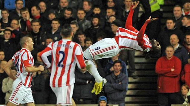 Kenwyne Jones and Jonathan Walters celebrate during Stoke City's 3-1 win over Liverpool on Dec. 26