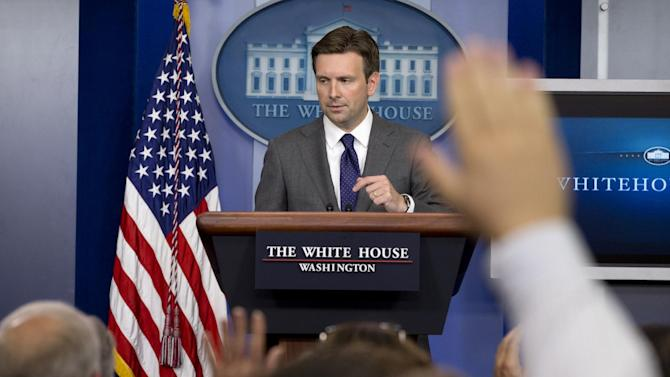 White House deputy press secretary Josh Earnest answers reporters questions in the briefing room of the White House in Washington, Thursday, Aug. 29, 2013, where he talked about Syria and the use of chemical weapons as the administration debates what action to take. (AP Photo/Jacquelyn Martin)