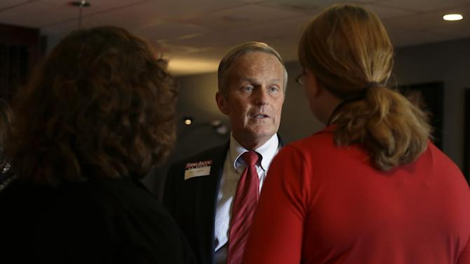 Missouri Republican Senate candidate Rep. Todd Akin, R-Mo., talks with supporters as a fundraiser, Monday, Sept. 24, 2012, in Kirkwood, Mo. Akin is seeking to unseat incumbent Sen. Claire McCaskill, D-Mo. in the November election. (AP Photo/Jeff Roberson)