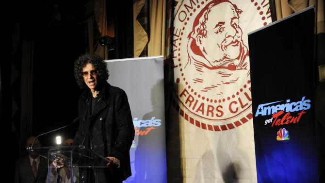 """Satellite radio talk show host Howard Stern, speaks to the media about his new role as a judge on """"America's Got Talent"""" at the Friars Club on Thursday, May 10, 2012 in New York. (AP Photo/Evan Agostini)"""