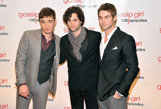 (L-R) Ed Westwick, Penn Badgley, and Chace Crawford attend the &quot;Gossip Girl&quot; 100 episode celebration at Cipriani Wall Street on November 19, 2011 in New York City. 