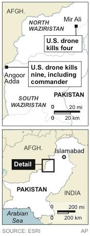 Map locates North Waziristan and South Waziristan, where U.S. drones killed 13 people