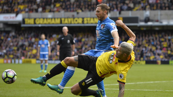 Bournemouth's Dan Gosling in action with Watford's Valon Behrami