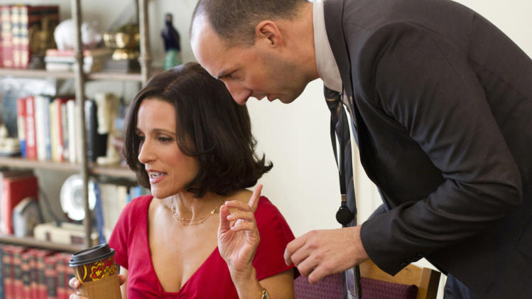 "Julia Louis-Dreyfus as Vice President Selina Meyer and Tony Hale as Gary Walsh in ""Veep."""