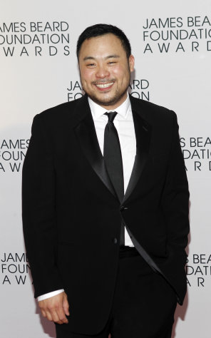 Chef David Chang arrives for the James Beard Foundation Awards, Monday, May 7, 2012, in New York. (AP Photo/Jason DeCrow)
