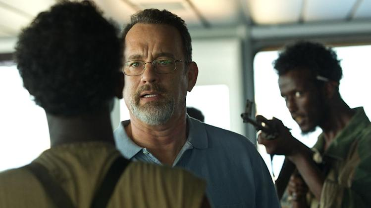 "This film image released by Sony - Columbia Pictures shows Tom Hanks, center, in a scene from ""Captain Phillips."" The film was nominated for an Academy Award for best picture on Thursday, Jan. 16, 2014. The 86th Academy Awards will be held on March 2. (AP Photo/Sony - Columbia Pictures)"