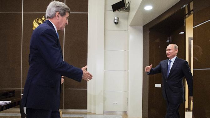 US Secretary of State John Kerry meets with Russia's President Vladimir Putin at the presidential residence Bocharov Ruchey in Sochi on May 12, 2015