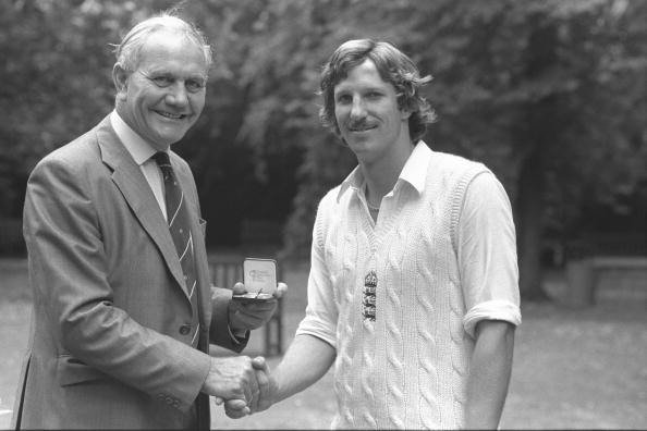 Aug 1979:  Alec Bedser presents Ian Botham of England with a special Cornhill Medal for taking the fastest ever 100 test wickets after the England v India test match at Lords.     Mandatory Credit:  A