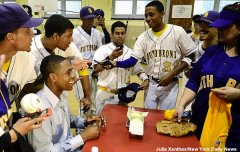 Yankees center fielder Curtis Granderson donates bats to the PSAL