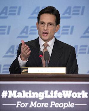 "House Majority Leader Eric Cantor of Va. gestures as he gives a major policy address entitled: ""Making Life Work."" Tuesday, Feb. 5, 2013, at the American Enterprise Institute (AEI) in Washington.   (AP Photo/Manuel Balce Ceneta)"