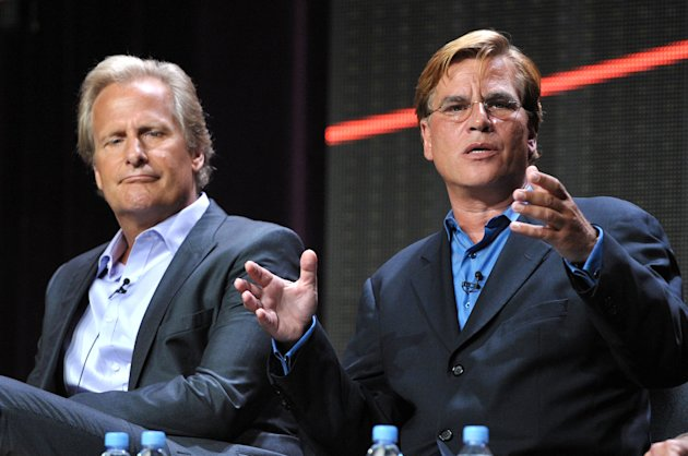 Actor Jeff Daniels, left, and creator and executive producer Aaron Sorkin appear onstage during HBO&#39;s TCA panel for &quot;The Newsroom&quot; at the Beverly Hilton hotel on Wednesday, Aug. 1, 2012, in Beverly Hills, Calif. The Oscar-winning writer-producer, Sorkin, defended The Newsroom and denied reports that he fired his entire writing staff at today&#39;s gathering of the Television Critics Association. (Photo by John Shearer/Invision/AP)