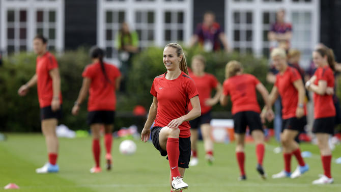 Heather Mitts, of the United States women's soccer team, trains in London, Wednesday, Aug. 8, 2012, ahead of the upcoming women's soccer final at the 2012 Summer Olympics. (AP Photo/Lefteris Pitarakis)