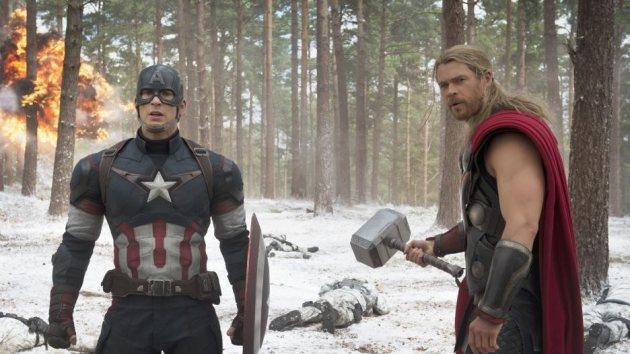Chris Evans and Chris Hemsworth in 'Avengers: Age of Ultron' -- Marvel