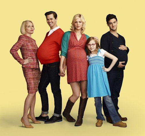 Ellen Barkin as Jane, Andrew Rannells as Bryan, Georgia King as Goldie, Bebe Wood as Shania and Justin Bartha as David in &#39;The New Normal&#39; on NBC, airing Tuesdays at 9:30 in Fall 2012 -- NBC