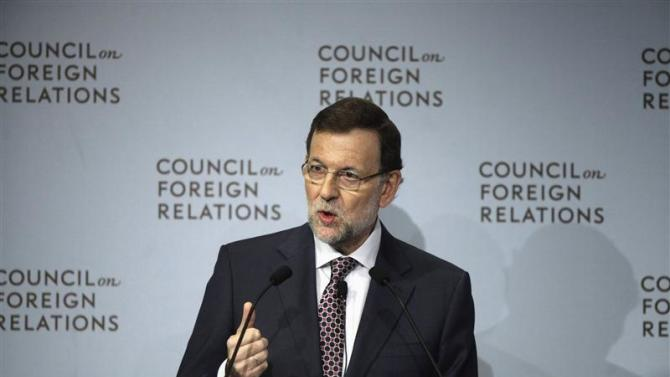 Spain's Prime Minister Rajoy speaks at the Council of Foreign Relations during the United Nations General Assembly in New York