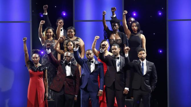 Chairman Award honorees appear on stage at the 47th NAACP Image Awards in Pasadena