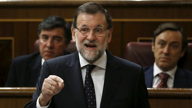 Spain's Prime Minister Mariano Rajoy answers a question during a government control session at Spain's Parliament in Madrid, Spain