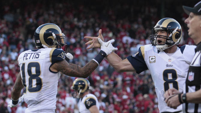 St. Louis Rams wide receiver Austin Pettis, left, is greeted by quarterback Sam Bradford, right, after scoring a touchdown on a two-yard reception during the fourth quarter of an NFL football game in San Francisco, Sunday, Nov. 11, 2012. (AP Photo/Jeff Chiu)