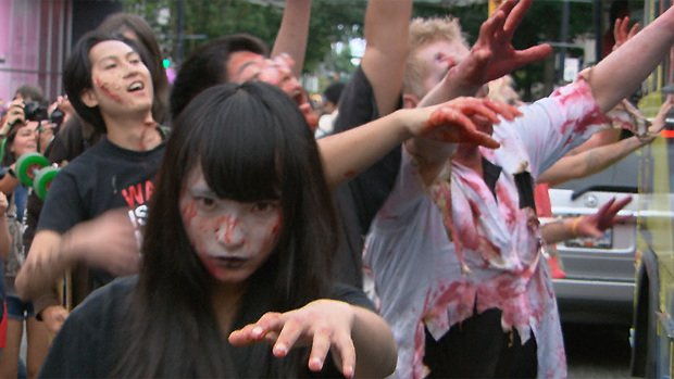 It wasn't the gory makeup and creepy behaviour that had spectators concerned as a horde of 'zombies' staggered from the Vancouver Art Gallery to English Bay Saturday. Authorities say some of the costumes included replica weapons that looked very real.
