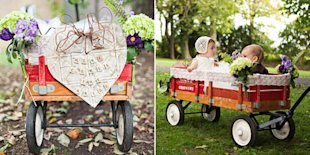 Babies in a wedding procession wagon.