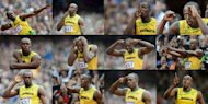 A combination of pictures taken in August 2012 show Jamaica's Usain Bolt as he gestures before competing at the athletics events during London Olympic Games