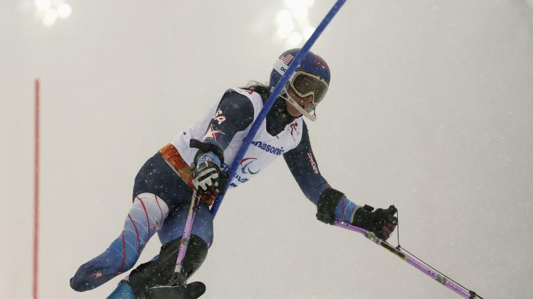 Melanie Schwartz of U.S. skis in first run of women's standing slalom event at 2014 Sochi Paralympic Winter Games in Rosa Khutor