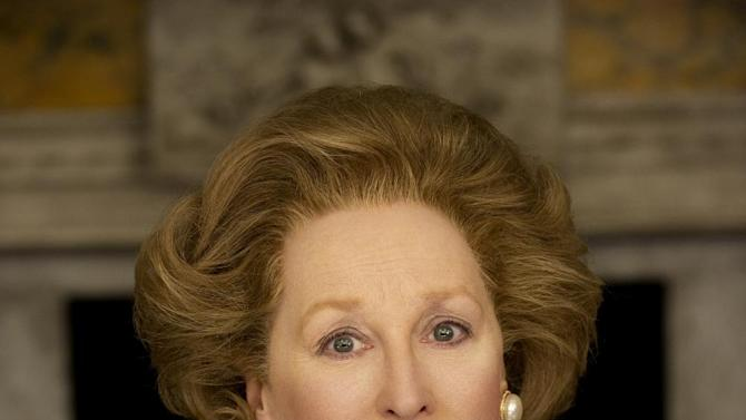 "FILE - This is an undated  film image provided by  on Feb.1, 2011 by The Weinstein Company, Meryl Streep as she portrays Margaret Thatcher in ""The Iron Lady.""  ""The Iron Lady,"" a biopic about Margaret Thatcher starring Streep as the former British prime minister.Former British Prime Minister Margaret Thatcher, whose conservative ideas made an enduring impact on Britain, died Monday April 8, 2013. She was 87.  (AP Photo/The Weinstein Company, Alex Bailey, File)"