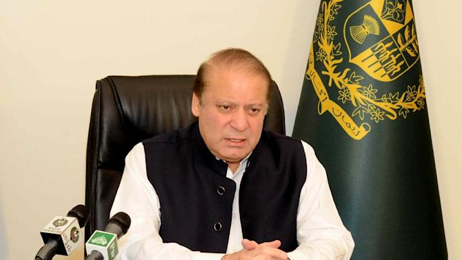 In this picture released by the Pakistan Press Information Department on July 23, 2015, Pakistani Prime Minister Nawaz Sharif speaks in a nationwide televised address in Islamabad
