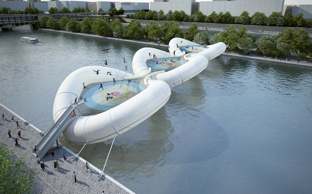 Spring in their step: The trampoline bridge would be a bouncy addition to the Seine (Zundel Cristea)