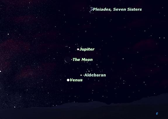 4 Bright Lights in Weekend Sky: See Moon, 2 Planets and Star Together