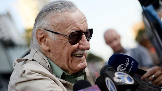 "Stan Lee, 92-year-old comic book legend, speaks to reporters during premiere of Marvel's ""Ant-Man"" in Hollywood"