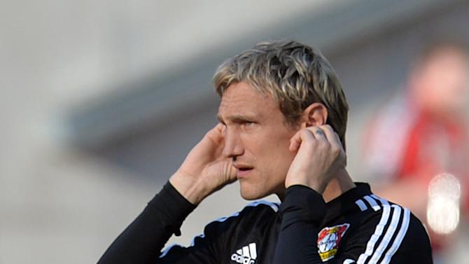 Leverkusen's headcoach Sami Hyypia  gestures  during the German Bundesliga soccer match between Hannover 96 and Bayer 04 Leverkusen at the HDI-Arena in Hannover, Germany,  Saturday March 8, 2014